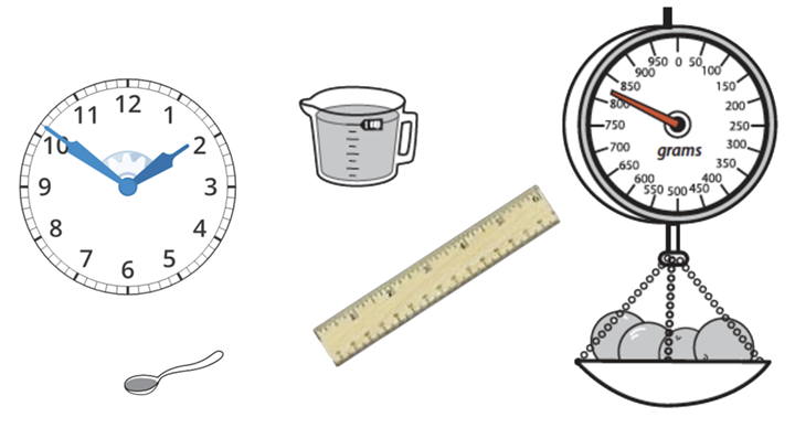 a clock, a spoon, a ruler, a measuring cup, and a spring scale