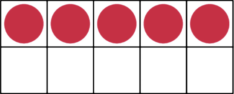 A ten-frame with 5 red dots in the top row.