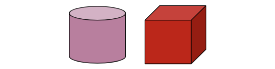 Cylinder. Cube.