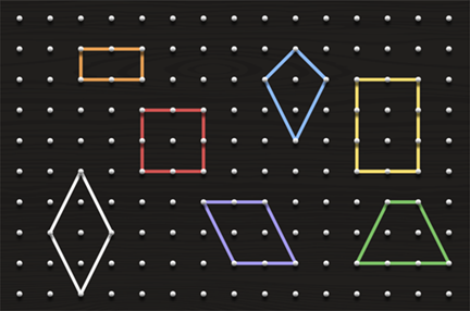 A geoboard with an orange rectangle. a white rhombus. a red square. a blue kite. a yellow rectangle. a green trapezoid. a purple parallelogram.
