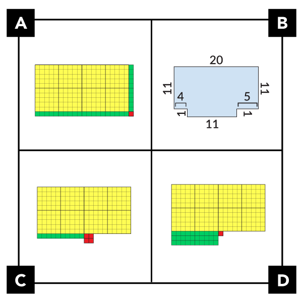 A. shows a rectangle made of base ten pieces. 2 100-grids side by side. 3 ten-strips (1 on the side, 2 along the bottom), and 1 unit (at the bottom right corner). B. shows an irregular shape made with 2 rectangles. One is 20 by 11. The other is 11 by 1. C. shows 2 100-grids side by side. Along the bottom edge are 1 ten-strip and 4 units in a 2 by 2 square. D. shows 2 100-grids side by side. Along the bottom edge of the left 100-grid are 3 ten strips (horizontal). 1 unit is to the right of the first 10-strip.