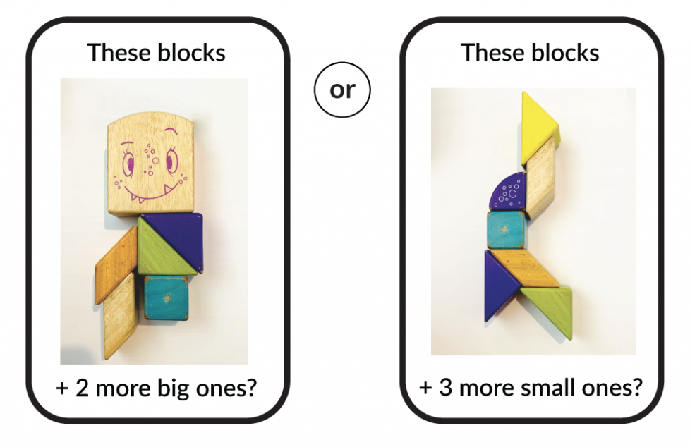 These blocks + 2 more big ones? This set has 1 big block with 3 straight sides, 1 curved side, and a monster face. It also has 5 small blocks. 2 triangles, 2 parallelograms, and 1 cube. Or these blocks + 3 more small ones? This set has 3 triangles, 2 parallelograms, and 1 cube. It also has 1 block with 2 straight sides and 1 curved side.