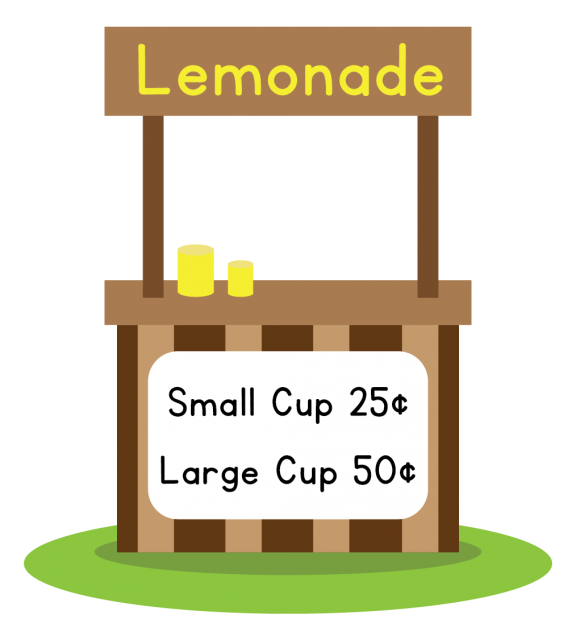 A lemonade stand. A small cup costs 25 cents and a large cup costs 50 cents.