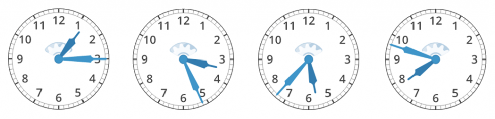 The first clock's hour hand is between 1 and 2. The minute hand is on the 3. The second clock's hour hand is between 3 and 4. The minute hand is 1 minute past the 5. The third clock's hour hand is between 5 and 6. The minute hand is 2 minutes past the 7. The fourth clock's hour hand is between 7 and 8. The minute hand is 3 minutes past the 9.