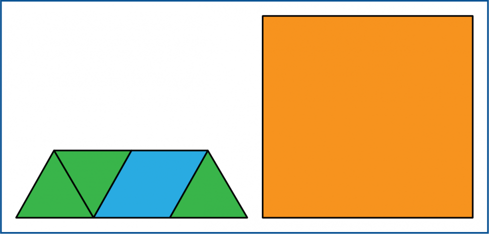 The top parts of the big triangle are hidden. The bottom row is still 2 small triangles, a rhombus, and 1 more small triangle.