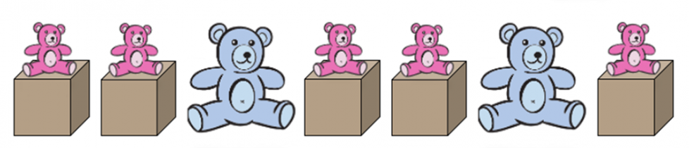Bears and boxes. First, a small pink bear sitting on a box. Next, a small pink bear sitting on a box. Then, a large blue bear sitting on the floor. Next, a small pink bear sitting on a box. Then, a small pink bear sitting on a box. Next, a large blue bear sitting on the floor. Last, a small pink bear sitting on a box.