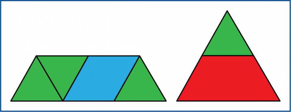 The bottom of the large triangle has four shapes. The top part of the triangle has 2 shapes.