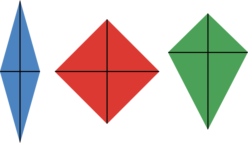 The first kite is blue and is tall and thin. The support bars intersect in the middle. The second kite is red and is equal in height and width. The support bars intersect in the middle. The third kite is green and is wider at its top than it is at its bottom. The support bars intersect near the top.