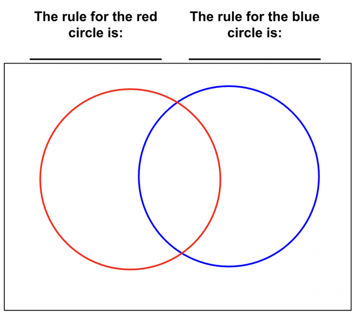 An empty Venn diagram. The rule for the red circle is blank. The rule for the blue circle is blank.