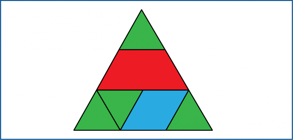 A large triangle made with smaller shapes. The top row is 1 small triangle. The middle row is 1 trapezoid. The bottom row has 2 small triangles, a rhombus, and then 1 more small triangle.