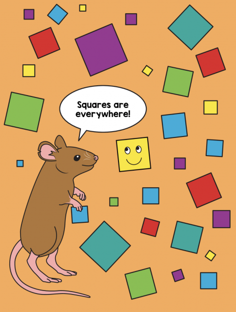 Little Mouse sees squares everywhere in this picture. Let's help Little Mouse count by color. 6 purple squares. 6 yellow squares. 1 yellow square has a smiley face. 4 green squares. 7 blue squares. 4 red squares. And 3 teal squares.