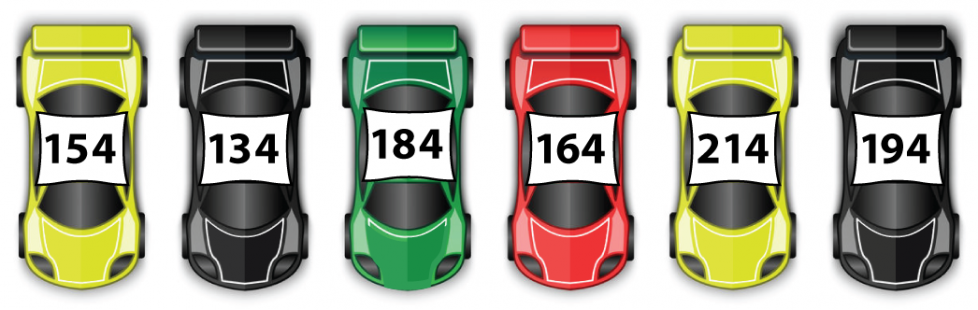 6 race cars with numbers on top. 1st, a yellow car with #154. Next, black, #134. Then, green, #184. Next, red, #164. Then, yellow #214. Last, black, #194.